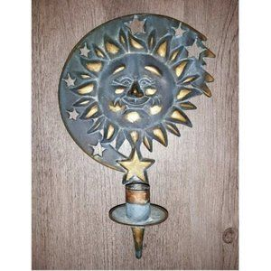 Celestial Sun Face Green Patina Wall Candle Holder